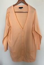 Jones New York Women Orange XL Knit Cardigan Long Jacket Sweater Top Button NEW