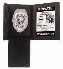 Black Badge Shield Concealed Holder Wallet Leather Fire Security ID Card Case