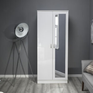 2 Door Double Wardrobe with Full Length Mirror in White High Gloss. Modern Style