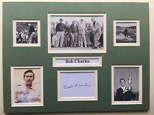 "Golf Bob Charles signé 16"" x 12"" double mounted Display"