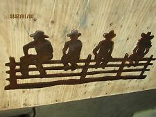 Cowboys On Fence Wall Art Western Rustic Cabin Home Decor Horse Rodeo Cowgirl