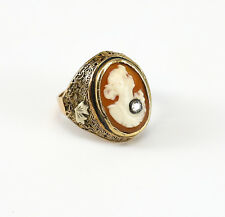 c.1920's Bi-Colored Gold Shell Cameo Ring with Filigree Design & Diamond Inset
