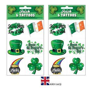 12 x ST PATRICKS DAY TEMPORARY TATTOOS Ireland Shamrock Irish Fancy Dress LOT UK