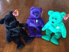1997 Very Rare Ty Beanie Babies Princess (Diana) Erin (Shamrock),The End 3 Bears