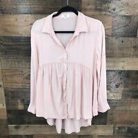 Umgee Women's Pink Empire Waist Long Sleeve Button Up Blouse Size S