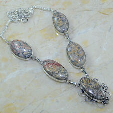 hecho a mano piel de leopardo jaspe piedra preciosa plata ley 925 Collar 55.9cm