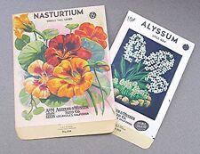2 Vintage Seed Packs -- Nasturtium & Alyssum