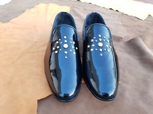 Handmade Men's Genuine Black Patent Leather Moccasins Tuxedo Wedding Party Shoes