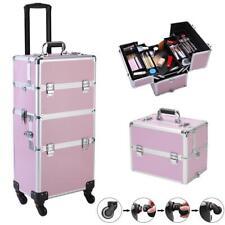 NEW 360-Degree Rotating Roll Makeup Case Aluminum Salon Cosmetic Train Trolley