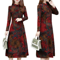 Womens Floral Long Sleeve Swing Midi Dress Casual Party Cocktail A Line Dresses