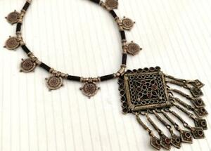 Handmade Rare Vintage Kuchi Banjara Tribal Afghan Gypsy Ats Pendant Necklace