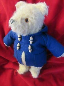 VINTAGE GABRIELLE PADDINGTON TEDDY BEAR TAG ENGLAND BLUE COAT 1980S NO BOOTS HAT