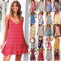 Women Strappy Floral Holiday Slip Dress Ladies Summer Beach V Neck Mini Sundress