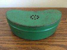 Vintage Green Ventilated Tin Bait Box Belt Loops Container