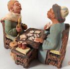 Vtg Terra Cotta Clay Figurine Figure Men Playing Cards Sculpture Folk Art Signed