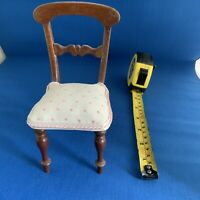 "Antique Miniature Upholstered Mahogany Chair Just 6"" Tall"