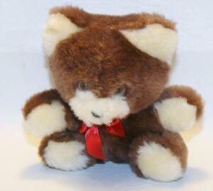 "Vintage RUSS Berrie Mini Plush Brown Bear Red Bow  Lovey Stuffed Animal 5"""