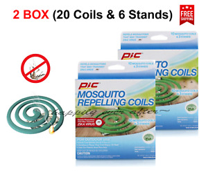 PIC Mosquito Repellent Coils - 20 Coils & 6 Stands! Repels Mosquitoes *US SELLER
