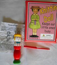 Vintage Knitting Boy Doll Knobby Knitter Wood Spool Original Box & Instructions