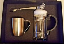 Leed's French Coffee Tea Press Stainless Double Insulated Mug & 1 Spoon Gift Set