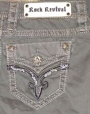 NEW SZ 26 WOMENS Grey ROCK REVIVAL REC055W-1 Cargo CAPRI PANTS Actual 29X27 $139