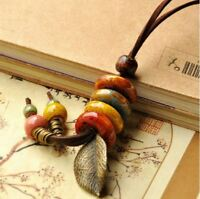 Long Multi Colour Bead & Leaf Fashion Necklace  & brown soft leather style chain
