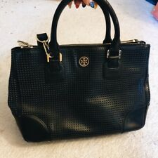 Tory Burch Perforated Robinson Double Zip Tote Handbag in Black Saffiano Leather