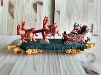 Toy State 1992 Christmas Magic Train Santa Sled Reindeer Car Move Back & Fourth