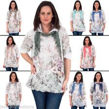 Maglie e camicie da donna beigi con colletto cotone