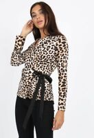 Womens Ladies Animal Leopard Print Self Tie Wrap Blouse Top