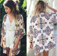 Boho Style Women Geometric Print Kimono Coat Chiffon Beach Cover up Tops Shirt XL