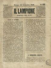 Il Lampione Carlo Collodi Giornale Satirico Risorgimento n°61  23 Settembre 1848