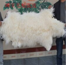 2pcs Real Mongolian Tibet Lamb Fur Rug Raw White Throw Genuine Wool Pelt Carpet