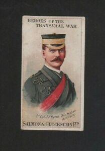 Salmon & Gluckstein Heroes Transvaal War LT Col Byron 1901 Very Good - Excellent