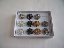 Job Lot of 11 New Multisize Ring Metal Flowers & Diamante in various colours