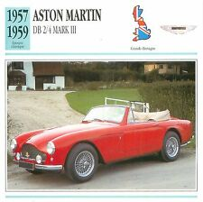 Aston Martin DB 2/4 Mark III 6 Cyl. 1957-1959 GB/UK CAR VOITURE CARTE CARD FICHE