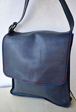 Marc Jacobs MBMJ Large Blue Leather Designer Messenger Cross-Body Bag Unisex