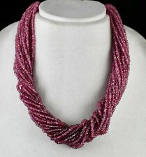NATURAL PINK TOURMALINE BEADS FACETED 868 CARATS GEMSTONE FINE SILVER NECKLACE