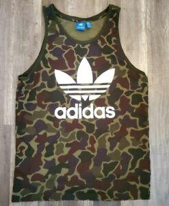 Adidas green/brown camo tank top men L LARGE euc