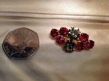 A Beautiful Gold Tone Brooch Pin With Ruby & Platinum Coloured Rhinestones