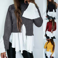 Fashion Women Long Sleeve Frill Ruffle Tops Casual Loose Ladies Blouse Shirt UK