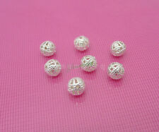 100pcs Silver Plated Round Filigree Spacer Beads 6mm Jewelry Findings