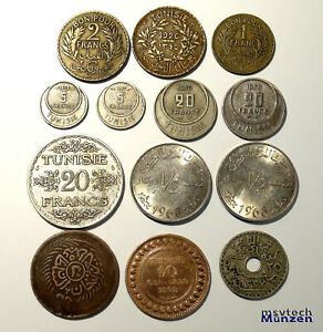 Tunesien Lot  13 Münzen ab 1872 mit 20 Francs 1934 Silbermünze Tunisie #1