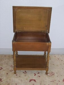 Vintage oak sewing box / table crafts storage 1940/50s  99p no reserve