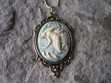MERMAID CAMEO ANTIQUED GOLD TONE PENDANT NECKLACE - VACATION - CRUISE