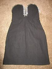 BNWT £48 UK 10 Rare Topshop Dress Jewel Sweetheart Black Mini Plunge Gems Party