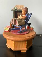 """Vintage Anri Thorens Music Box  """"ScarletRibbons"""" Girl with Baby by Fireplace"""