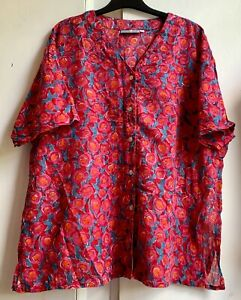 Fab *ACCACIA* Anokhi Style Red Indian Cotton Hand Block Print Tunic Kaftan XL