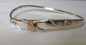 Clogau Welsh Gold Sterling Silver & 9ct Gold Mackintosh Rose Wave Bangle