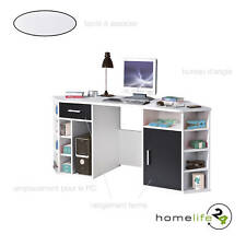 Bureau d'angle multifonctions noir et blanc avec 1 porte 1 tiroir et de nombr...